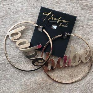 """Thalia Sodi """"Babe"""" Gold Tone Hoop Earrings New"""